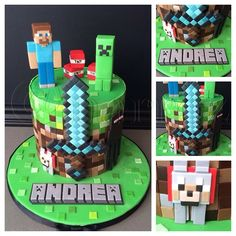 "183 Likes, 21 Comments - Natasha Rice Cakes (@natasharicecakes) on Instagram: ""My first Minecraft cake. Thankfully it wasn't such a huge cake, because cutting and placing each…"""