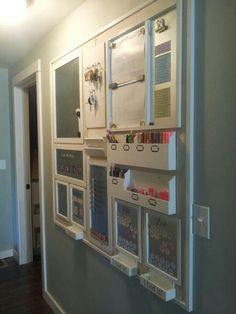 Home organization wall - I have to do this for my home!  It looks awesome! Centre, Comand Center, Wall Planner, Office Walls, Home Office, Organization, Organizing, Bathroom Medicine Cabinet, Furniture
