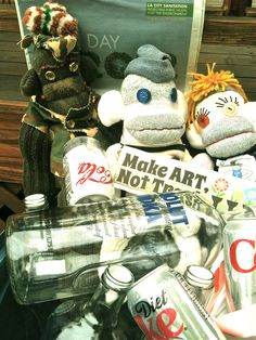 Sock-ratees, Hos-ary and Camo-key collected bottles to raise money to create green art by planting a tree in honor of Earthday 2012 by www.pepesherinadesigns.com How To Raise Money, How To Make, Sock Monkeys, Green Art, Make Art, Earth Day, Planting, Camo, Upcycle
