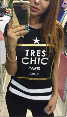 Camiseta Feminina Tres Chic - Compre Online | DMS Boutique