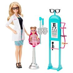 Explore new careers in depth with the Barbie Careers complete play sets. The Barbie Careers Eye Doctor set brings everything info focus with a special examination chair and eye chart. She wears a pretty floral dress with pink sneakers for a trendy look. Mattel Barbie, Barbie Doll Set, Barbie Dolls For Sale, Barbie Party, Barbie Style, Ken Doll, Eye Doctor, Pink Sneakers, Barbie World