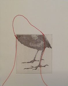 ronald ceuppens - mixed media - bird lower body photograph with stitched red thread