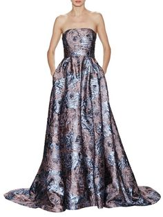 Rose Jacquard Strapless Gown by Badgley Mischka Couture at Gilt