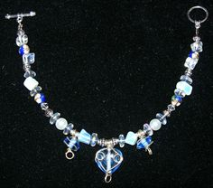 Bracelet with Blue Glass Wire-wrapped Heart and Oval Bead Dangles, Moonstone Nuggets, Glass Pearls, Blue Cloisonne Beads, Clear Glass Rondelles, Toggle Clasp