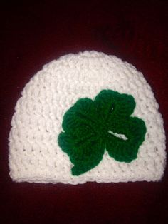 St. Patrick's Day-Shamrock-Four Leaf Clover Crochet Hat - Newborn Baby Child & Adult Sizes -Available in White Or Ivory Hat by JenJenandGMaShop on Etsy