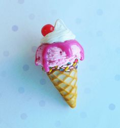 Polymer clay strawberry ice cream in a dipped by ScrumptiousDoodle, $14.00