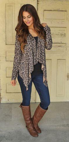 Dottie Couture Boutique - Suede Leopard Cardigan , $46.00 (http://www.dottiecouture.com/suede-leopard-cardigan/)