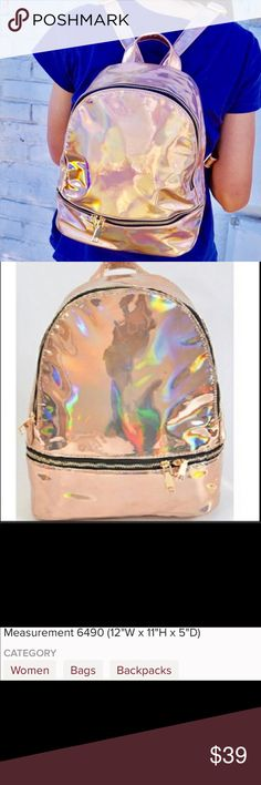 Pink Haley Rose Gold Metallic Backpack Purse New New With Tags   # Tone Gold Metallic mirror Backpack Purse New Purse Under $50 $75 $100 Trendy Purse Statement Purse Christmas gift birthday gift Pink Haley Bags Backpacks