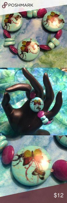 Butterfly stretch bracelet. Dyed howlite butterfly bracelet with purple died aventurine. Chunky, but oh so pretty. Jewelry Bracelets