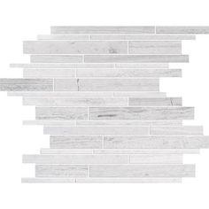 Modamo - Polished Random Strip Wooden White Limestone Mosaic - Home Depot Canada. ($9.50/sqft)