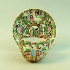 ANTIQUE CHINESE FAMILLE ROSE PORCELAIN CUP & SAUCER C.1890