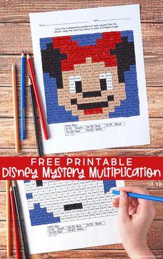 Free Printable Multiplication Worksheets, Math Coloring Worksheets, Learning Multiplication, Math Fractions, Multiplication Strategies, Maths, Math Activities, Math Games, Math Graphic Organizers