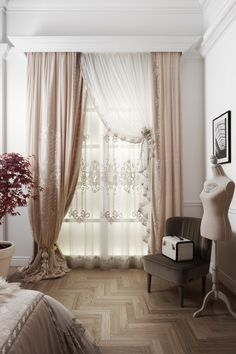 Chicca Orlando Italian company, produce luxury home textiles and furniture made in Italy, with high quality embroidery fabric and unique design.Chicca Orlando creates curtains and home textile with total customization and exclusive Italian style. Luxury Curtains, Shabby Chic Curtains, Home Curtains, Curtains With Blinds, Interior Design Inspiration, Home Decor Inspiration, Living Room Designs, Living Room Decor, Beautiful Home Gardens