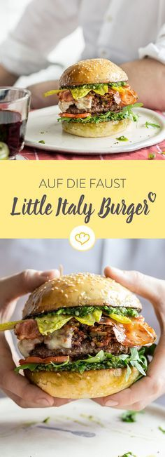 On the fist – Little Italy Burger – The barbecue season has started. Make yours… On the fist – Little Italy Burger – The barbecue season has started. Make yourself and your friends a juicy Little Italy burger with pe – Burger Party, Burger Co, Burger Recipes, Grilling Recipes, Pork Recipes, Chicken Recipes, Little Italy, Wrap Sandwiches, Vegetable Recipes