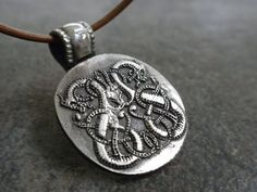 Celtic Jewelry Silver Dragon Necklace Pendant Game by Serrelynda