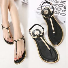 60c0a3a7cf0b 2016 New summer women sandals female rhinestone comfortable flats flip  gladiator sandals party wedding shoes♢