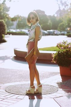 Vintage shirt. American Apparel skirt and clutch. Vera Wang wedges.