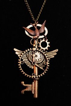 Steampunk Victorian Necklace Featuring Flying Key by jmasserant, $18.00