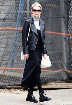 Emma Roberts layers a black leather jacket over a chunky turtleneck, a black midi-dress and black patent booties. Celebrity Outfits, Edgy Outfits, Celebrity Look, Mode Outfits, Long Slip Dress, Black Slip Dress, Leather Jacket Dress, Leather Dresses, Moto Jacket