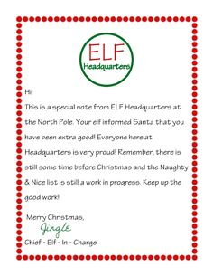 Elf on the Shelf Letter. A letter from your elf on the shelf letting your child know they are on the nice list. Elf Letters, Santa Letter, Letter From Elf, Christmas Activities, Christmas Traditions, Preschool Christmas, Indoor Activities, All Things Christmas, Christmas Holidays