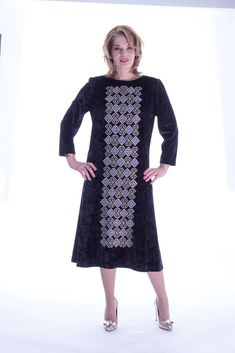 Black velvet dress with embroidery Big Size Fashion, Plus Size Stores, Black Velvet Dress, Plus Size Women, Plus Size Outfits, Cold Shoulder Dress, Clothes, Collection, Long Sleeve