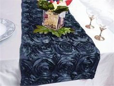 Navy Blue Rosette Table Runner New Item www.shirtimeweddings.com