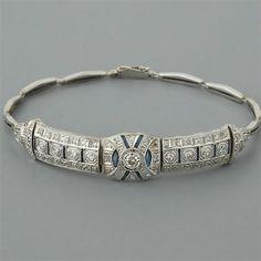 Art Deco Diamond Bracelet Antique Sapphires #VintageJewelry