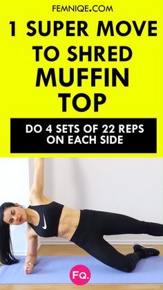 How To Get Rid of Love Handles Day Plan) This muffin top exercise is on of the best belly-blasting exercises to target your core from every angle for a sleek waist, flat belly, and sexy obliques. Go see the whole routine! Best Ab Workout, Ab Workout At Home, At Home Workouts, Workout Plans, Fitness Workouts, Fitness Tips, Ab Workouts, Fitness Humor, Fitness Outfits
