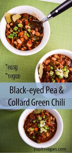 Black-eyed Pea and Collard Green Chili from the Vegan Pressure Cooking cookbook! | yupitsvegan.com.