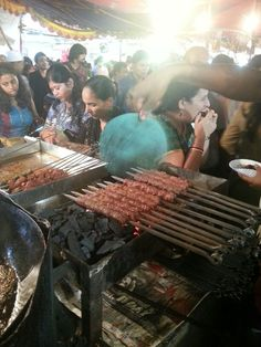Chicken sheikh being prepared on a coal bed at Mhmd Ali Road during Ramzan in Mumbai