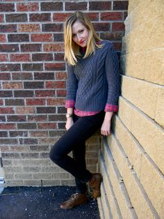 cable sweater + plaid popover + leather ankle boots