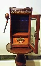 ANTIQUE SMALL MAHOGANY CAMPAIGN ERA PIPE SMOKERS CABINET & RACK C1890