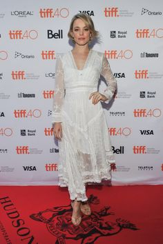 Rachel channeled her feminine side in this white lacy Zimmermann number and neutral sandals.