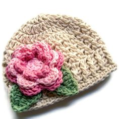 Crochet Baby Hat with Flower, Infant or Toddler Girls Crochet Cotton Beanie Hat