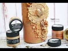 An altered bottle - Rust Effect Pastes by Finnabair - YouTube