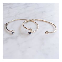Just made these new cuffs! 14k with a half carat of Blue #Sapphires or White #Diamonds! #shahlakarimifine #whitediamonds #madeinny #lovegold #cuffs #bridal #bridaljewelry #trilliondiamond