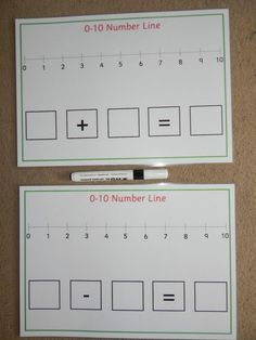 Addition/Subtraction Number Lines - Numeracy Teaching Aid - Maths Eyfs, Numeracy Activities, Subtraction Activities, Kindergarten Math Activities, Math Resources, Number Line Activities, Addition Activities, Math Games, Math Addition
