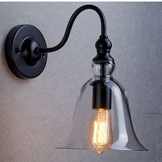 Vintage Industrial Wall Lamp Light Bell Glass Pendant Lighting Modern Lampshade