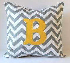 Monogram Pillow Cover Applique - Chevron - 18 x 18 - Nursery Decor - Dorm Decor - Wedding - Bridal - Home Decor - Baby - Housewarming Gift