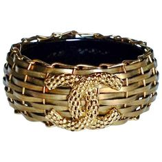 Mint Ultra Rare Chanel ✿*゚03c Bronze Bamboo Basket Resin Bangle... ($2,700) ❤ liked on Polyvore featuring jewelry, bracelets, multiple, resin jewelry, bracelets bangle, vintage antique jewelry, chanel jewelry and mint jewelry