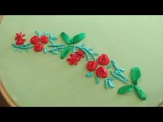 Hand Embroidery Designs, Ribbon Embroidery, Designs For Dresses, Ribbon Work, Border Design, Kurti, Needlework, Fancy, Rose