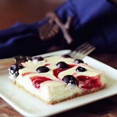 Healthified Red White and Blue Swirled Cheesecake Bars