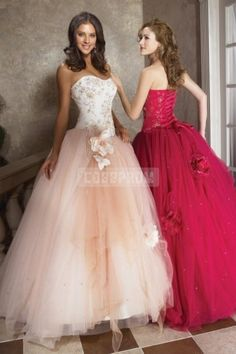 Flowers Long Ball Gown Organza Embroidery Lace-up Natural Waist Sweetheart Sleeveless Crystals Prom Dress