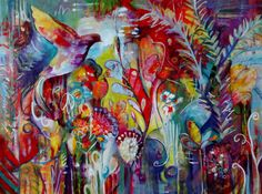 "Lynda Briggs ""Nature's Carnival"", 30x40 acrylic on canvas www.facebook.com/lbriggspaintings"