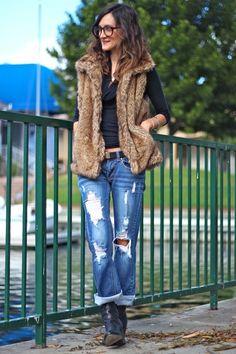Fur Vest Belted Waist