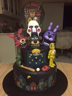 Five Nights At Freddy's Cake Images Five Nights At Freddy's, 4th Birthday Cakes, 10th Birthday Parties, Birthday Ideas, Fnaf Cakes Birthdays, Cake Images, Freddy S, Cake Creations, Party Cakes