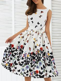 Butterfly Print Sleeveless Knee Length Dress in White | Sammydress.com