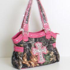 "FUCHSIA RHINESTONE CAMO  CROSS PURSE  Size 12""w X 11""h X 4.5""d  Camouflage Handbag"