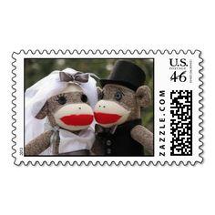 Sock Monkey Wedding Stamps