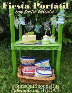 Receta de torta helada y una simpática idea de cómo hacer una fiesta portátil con https://www.pinterest.com/bluebunnyic/ #SunsOutSpoonsOut #ad #cbias
